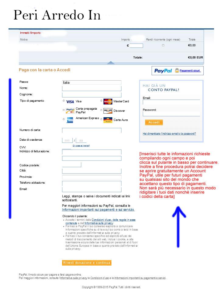 Istruzioni pagamento senza conto PayPal